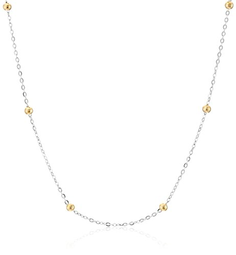 18k White Gold Bead (18k Italian Yellow Gold Cable and Bead Chain with White Gold, 17.75