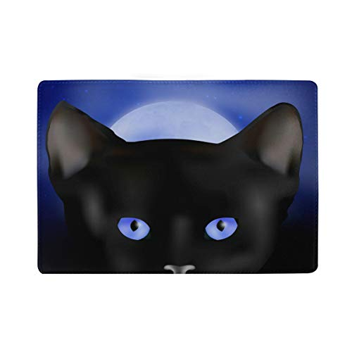 Black Cat Real Leather Passport Holder Wallet Case Cover for Men Women by Hulahula (Image #3)