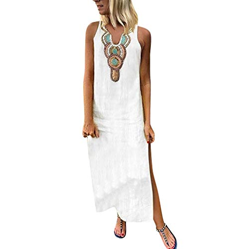 Sunhusing Women's Bohemian Beach Style Cotton Linen Print V-Neck Sleeveless Loose Long Maxi Dress White]()