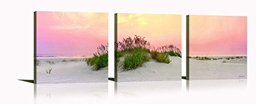 YPY Sunrise Beach Wall Art for Bedroom Decor Pink Seascape Reed on Sand 3 Panels Home Decoration]()