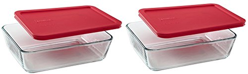 Pyrex 6-Cup Rectangle Food Storage, Pack of 2 Containers ()