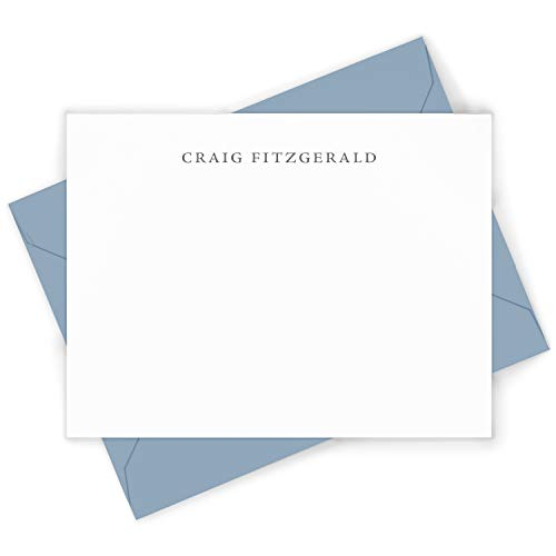 SIMPLICITY - Personalized FLAT Professional Mens Office Stationery/Stationary Notecard And Envelope Set
