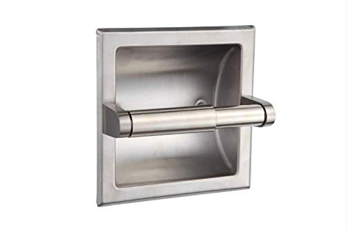 SMACK Brushed Nickel Recessed Toilet Paper Holder - Includes Rear Mounting Bracket