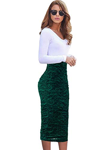 VFSHOW Womens Elegant Green Floral Lace Ruched Ruffle High Waist Work Casual Pencil Midi Mid-Calf Skirt 2381 GRN M ()
