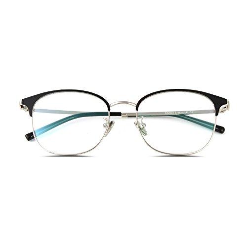 mujeres azules Gafas equipo plateado brillante Silver hombres del gafas sección Frame gafas normal Marco caja Bright marea y coreano Anti KOMNY la personalidad para PEYqpPw