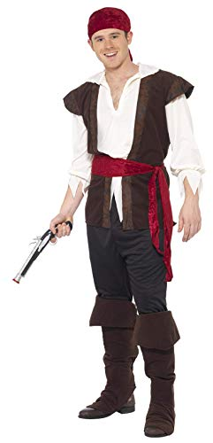 Smiffys Men's Pirate Costume, Headscarf, Top, pants, Belt and Boot covers, Pirate, Serious Fun, Size XL, 20469]()