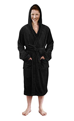 (NY Threads Hooded Bathrobe Mens Luxurious Fleece Shawl Collar Robe (Black, Large/X-Large))
