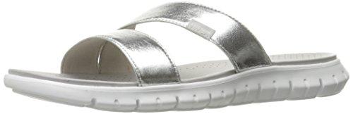 Cole Haan Women's Zerogrand Two Strap Slide Sandal, Argento Silver/Optic White, 10 B US W07135