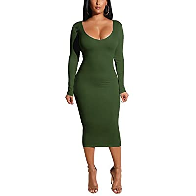 Cmprvgd Women's Open Back Long Sleeve Bodycon Midi Party Dresses: Clothing