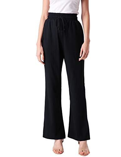 ANGGREK Women's Solid High-Waist Wide-Leg Super Stretch Palazzo Pants Black 2XL