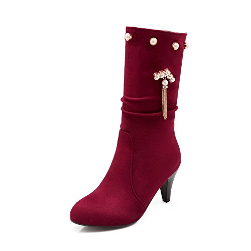 A&N Ladies Metal Chain Bead Closed-Toe Imitated Leather Boots Red