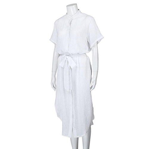Col Ceinture V Robe Mode Solides Blanc Chic LOVELYOU Profond Rabattu Chemisier Simple Irrgulier Dames Manche Dress Longue lgant Ouvertes Dcontract Femme Sexy t Courte pn5aW8qF