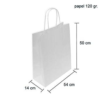 CAJA 200 BOLSAS PAPEL BLANCAS 54+14X50 CM (54+14X50 CM, Celulosa blanco)