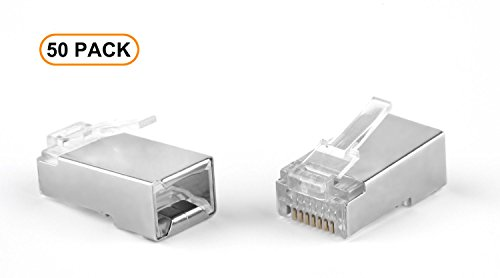 Maxmoral 50 Pack Metal Shielded Gold Plated Leads RJ45 RJ-45 8P8C Network CAT5E CAT Modular Plug Connector