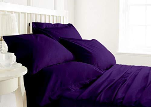 Purple 4 PC Sheet Set 100% Egyptian Cotton Bed Sheet Set 28'' Deep Pocket Premium Range 800 TC Wrinkle & Fade Resistant, Sheet & Pillow Case Set Queen