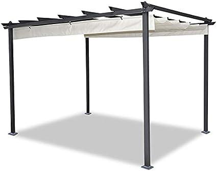 IDMarket - Pérgola de techo retráctil de 4 pies y 3 x 4 m en color beis