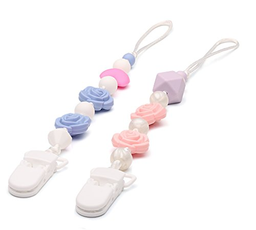 Pacifier Clip Holder for Girl with BPA Free Silicone Teething Beads, 2 Unique Teething Toy Set, Best Unique Gift for Baby Shower, Universal for Binky, WubbaNub, NUK, Avent Soothie and MAM Pacifiers (Simple Stocking Holder)