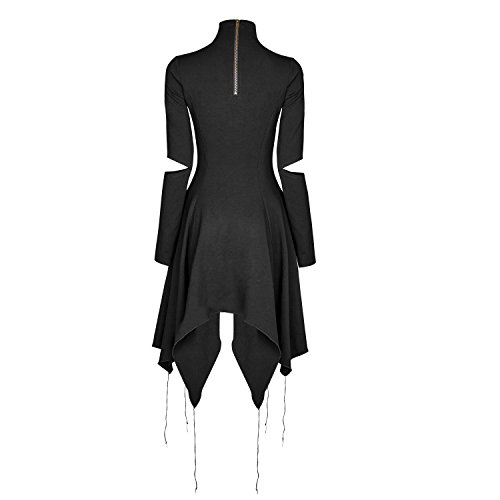 Punk Rave Fashion Black Gothic Punk Heart Shape Asymmetry Causal Dress (Large)
