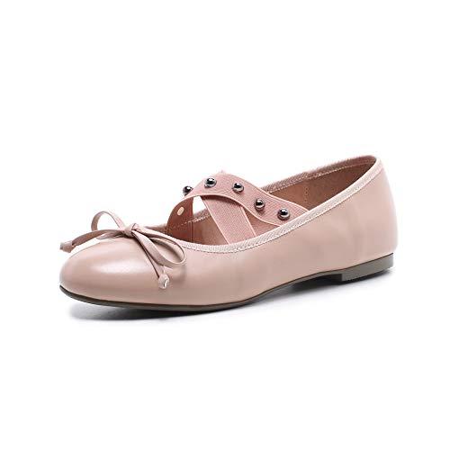 Women's Shallow Mouth Pink Heel Head Shoes Block Round High rwqBrPXx