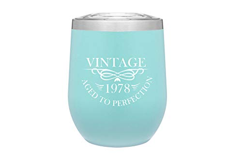 1978 40th Birthday Gifts for Women and Men - Funny Vintage Anniversary Gift Ideas for Mom, Dad, Husband or Wife - Party Decorations for Him or Her - 12 oz Stainless Steel Wine Glass Tumbler with Lid -