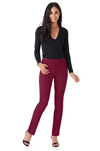 (Rekucci Women's Ease Into Comfort Everyday Chic Straight Pant w/Tummy Control (4,Burgundy))