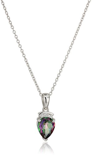 """Sterling Silver Mystic Topaz Pear Pendant Necklace, 18"""""""