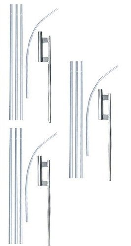 (Swooper Flutter Flag Hardware-THREE 4 Piece Pole Kits with Ground Spikes)