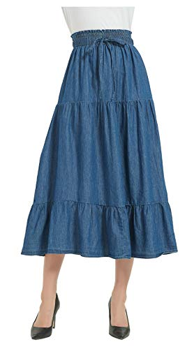 Tronjori Womens A Line Long Midi Denim Skirt Tired Pleated Layers Elastic Waist Front Drawstring