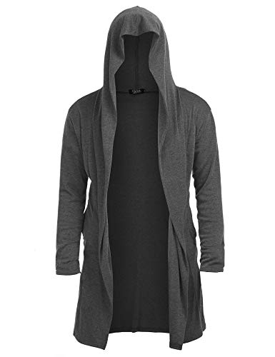 Mens Open Front Long Sleeve Sweater Draped Lightweight Longline Hooded Cardigan with Pockets