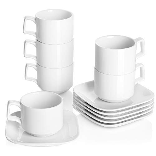 (DOWAN Porcelain Coffee Cups with Square Saucers, 9 Ounces for Specialty Coffee Drinks, Cappuccino and Tea, Stackable Cups Set of 6, White)