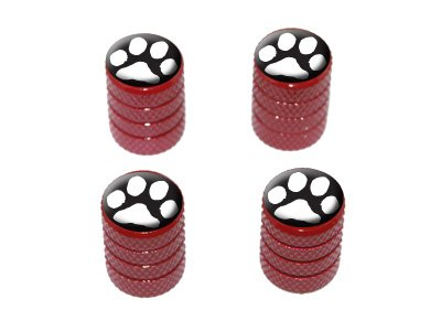 Black Car White Rims (Paw Print White on Black - Tire Rim Valve Stem Caps - Red)