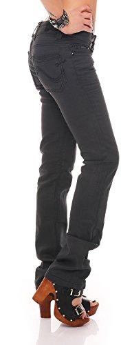 Tina Schwarz Damen Hüfthose Designer Jeans Denim Reißverschluss Boot-Cut 1% Stretch