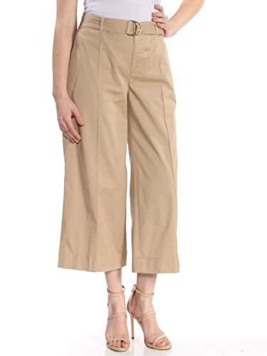 - Lauren Ralph Lauren Womens Brienda Twill Cropped Wide Leg Pants Tan 8