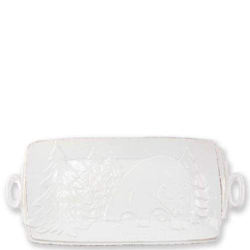 Vietri Lastra Winterland Handled Rectangular Platter
