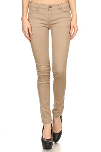 Women's Solid Colored Five Pocket Skinny Jeans Stretch Pants