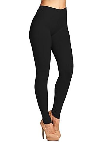 Leggings Mania Women's Plus Solid Color Full Length High Waist Leggings Black
