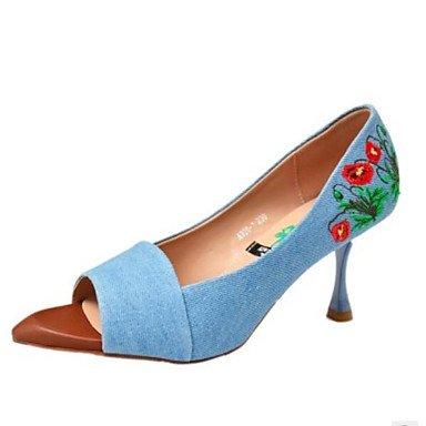 FSCHOOLY Womens Zapatos Denim Comodidad Verano Sandalias Stiletto Talón Peep Toe Toe Para Abrir Casual Azul Claro Azul Oscuro Luz azul