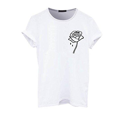 Corta Shirt Rose Donne T Sciolto ZKOOO Girocollo Tee Stampe Bianco Shirt Sweet Estate Maglietta Camicetta Tops Manica Casual wpqAp5f