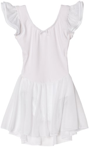Capezio Little Girls' Flutter Sleeve Dress Leotard, White, Toddler (2-4) (2011 Evening Dress)