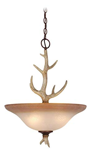 Lodge 18In. Pendant W/French Scavo Glass ()