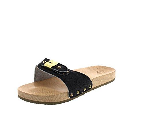Scholl PESCURA Sporty Flat black - Zuecos de material sintético mujer Glitter Black