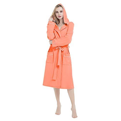 M&M Mymoon Womens Cotton Robe Soft Kimono Spa Knit Bathrobe Lightweight Long (Living Coral Hooded, L) (Womens Knit Robe)
