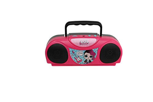 Sakar L.O.L. Surprise KO1-03136 Kids Karaoke Machine with Radio, Portable Fm/Am Radio, Corded Microphone, Durable Handle Allows for Easy Transport, Surprise Stickers, Pink
