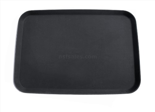 New Star Foodservice 25392 Non-Slip Tray, Plastic, Rubber Lined, Rectangular, 18 x 26 inch, Black (Liner Tray Plastic)