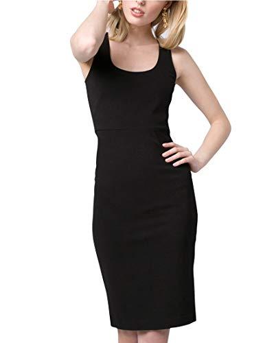 (LE CHÂTEAU Ponte Knit Scoop Neck Shift Dress,L,Black)