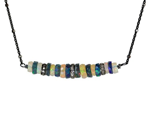 White and Black Opal Gemstone Bar Necklace Pave Diamond Oxidized Sterling Silver - 17 '' Length by Nadean Designs