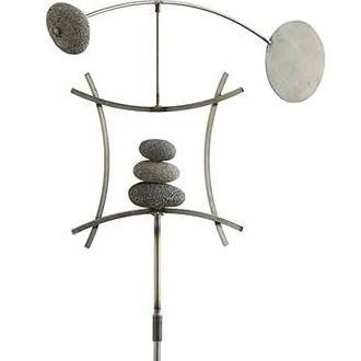 Aura Life Zen Garden Spinner Kinetic Wind Sculpture Balanced Arch Yard Decor With Rock Cairn And Stake Relaxing Metal Art Wind Vane Sculptures