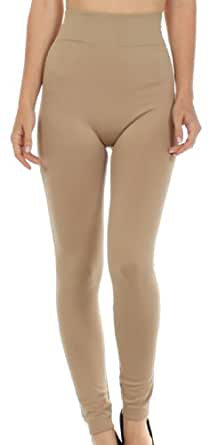Sakkas 003GL Warm Soft Fleece Lined High Waist Leggings - Beige - One Size Regular