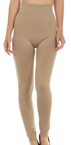 Sakkas 003GL Warm Soft Fleece Lined High Waist Leggings - Beige - One Size Plus