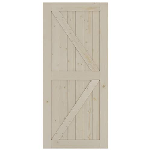 SmartStandard 36in x 80in Sliding Barn Wood Door Pre-Drilled Ready to Assemble, DIY Unfinished Solid Spruce Wood…